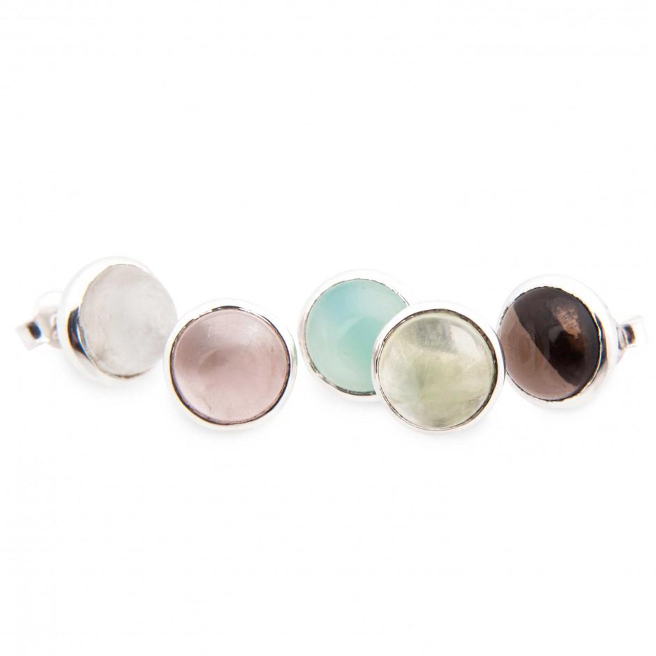 Rainbow earring rosenkvarts och aqua, calcedon