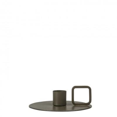 Ljusstake i grön aluminium  11X3 cm . 99 :-CANDLE HOLDER ART